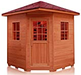 4 Person Outdoor Canadian Red Cedar Ceramic FIR Far Infrared Luxury Sauna SPA with Shingled Roof, MP3, and LED Lights