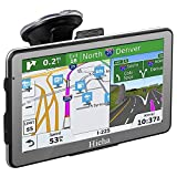 Hieha GPS Navigation Systems for Car Truck RV Vehicles 7 Inches 8GB 256Mb Navigation Device HD Touch Screen Navigation with Preloaded US/CA/MX Maps and Back Bracket, Lifetime Free Map Updates