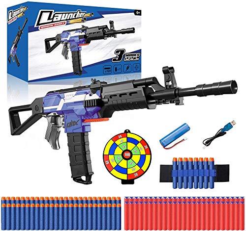 Pistola Giocattolo, Elettrico Pistola per Nerf Dardi con 100 Dardi, Bersaglio, Polsino e Batteria Ricaricabile, Pistole Blaster 3 modalit 3 velocit, Regalo per Bambini/Ragazzo/Ragazza/Adulti