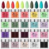 Huanchenda Polvo Acrílico para Uñas, Polvo de Inmersión para Uñas 20 Colores 10g/frasco Juego de Decoración de Uñas para Principiantes(no...