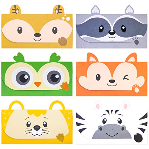 24 Pcs Letter Writing Stationery Paper Set Woodland Animal Design Greeting Cards with Envelopes for Kids Classroom Birthday Party