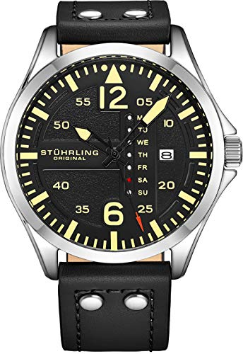 Stuhrling Original Herren Analog Sport Aviator Uhr, Quick-Set Day-Date, Lässiges Lederband (Black)