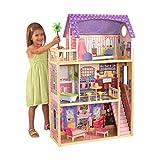 KidKraft 65092 Kayla - Casa de Muñecas de Madera con Muebles y Accesorios Incluidos, 3 Pisos, para Muñecas de 30 cm , color Natural/Rosa/Violeta
