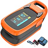 Fingertip Pulse Oximeter with Plethysmograph and Perfusion Index, Include Carrying case, Large OLED...