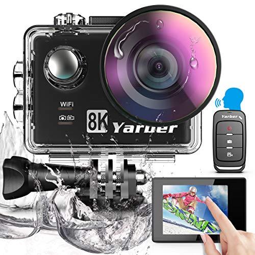 Yarber Action Cam, 8K 20MP Wi-Fi Impermeabile 30M Touch Screen EIS Comando Vocale con Telecomando Fotocamera Subacquea Digitale 8 Volte Zoom Hyper Stabilizzazione Videocamera