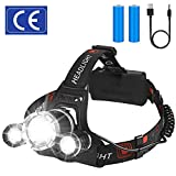Rechargeable Headlamp, LED Flashlight, Zoomable 12000 Lumen Bright CREE LED, Waterproof Head Lamp, Adjustable for Kids and Adults, Hardhats Light for Camping, Cycling, Running, Fishing, Emergency