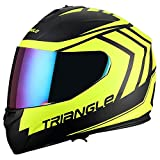 Triangle motorcycle full face dual Visor helmets (Small, Matte Black/Yellow)