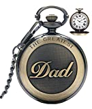 Reloj de bolsillo para hombre cuarzo con cadena para hombres colgante de reloj de bolsillo con nmeros romanos para el da ms grande/abuelo - Retro regalos para el da del padre de cumpleaos
