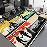 Retro Standing Mat Waterproof Stain Resistant Postcards from Italy Hawaii Paris Exotic Places in The World Nostalgic Times Print Multicolor Rug 54' by 28'