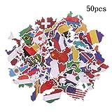 DAOSSU Jouets Carte Pays Autocollant Lot de Stickers Pays Feuilles De...