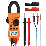 CAMWAY Portable Clamp Meter Digital 6000 Counts AC/DC Current TRMS AMP OHM Tester Capacitance Multimeter with Alligator Clips