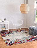 Unique Loom Chromatic Collection Modern Abstract Colorful Multi Square Rug (6' 0 x 6' 0)