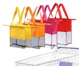 Reusable Shopping Cart Bags and Grocery Organizer Designed for Trolley Carts by Modern Day Living … (Green) (Red Purple Orange Yellow)