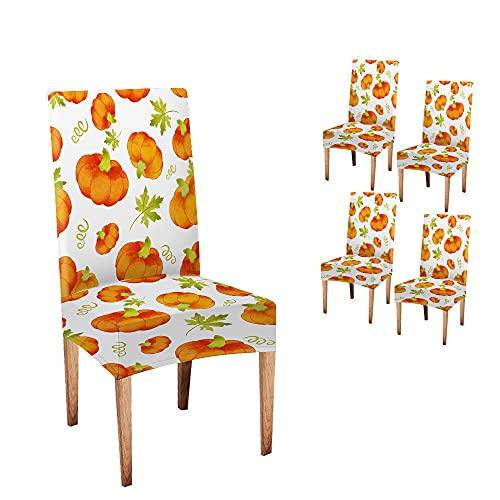Halloween Chair Covers Musesh Autumn Chair Covers Halloween Orange Pumpkins Trendy Pattern Watercolor Fall Chair Covers Set of 4 Stretch Removable Washable Slipcovers for Dining Room Hotel Kitchen