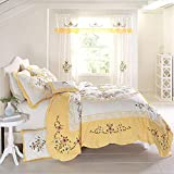BrylaneHome Ava Oversized Embroidered Cotton Quilt - King, Dandelion Yellow