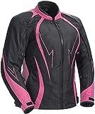 Juicy Trendz Veste de Moto pour Femme en Cuir blindé imperméable à l'eau Cordura Textile Moto
