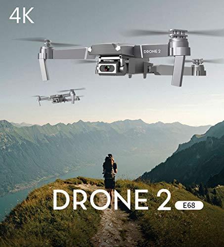 APJS Drone 2 E68 FPV RC Drone Quadricotteri Pieghevole con 4K Videocamera in Diretta Selfie Fotocamera Professionale 2.4G WiFi Droni Adulti, Funzione di Hovering, G-sensore, 3D Flip