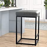 Maison Counter Height 24 Inch Bar Stool for Kitchen Counter Backless Industrial Stool Modern Upholstered Barstool Countertop Chair Saddle Seat Island Stool,330 LBS Bear Capacity,1 Stool(24 Inch, Grey)