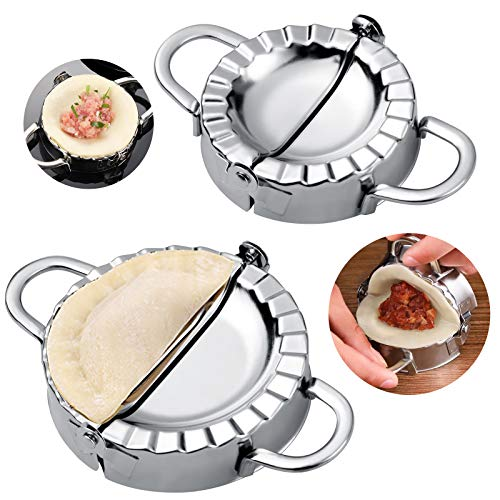GWHOLE 2 Piezas Molde para Empanadillas de Acero Inoxidable 8 y 9,5cm Molde Dumpling Coatadores