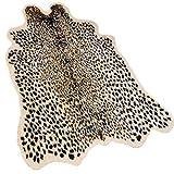 Leopard Area Rug Animals Printed Hide Mats Faux Fur Cowhide Skin Carpet for Home Office, Livingroom, Bedroom, 5.2ft x 6.5ft (160 x 200cm)