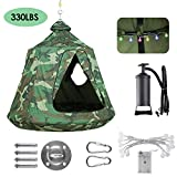 GARTIO Hanging Tree Tent, Swing Play House, Portable Hammock Chair, with LED Decoration Lights, Inflatable Cushion, Suit for Adult and Kids Indoor Outdoor, Max Capacity 330lbs