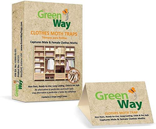 GreenWay Clothes Moth Traps (2 traps per box) - pheromone attractant, eco-friendly, kid and pet safe
