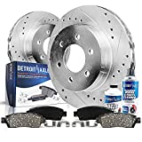 Detroit Axle - 6 Lug Front Drilled & Slotted Rotors + Ceramic Brake Pads Replacement for 2005-2019 Toyota 4Runner FJ Cruiser Tacoma - 6pc Set