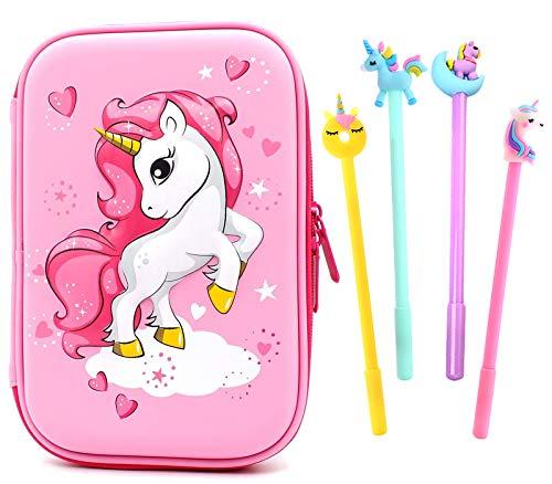 Unicorno Astucci Set,Astuccio Portapenne Hardtop Unicorno Portamatite,Astuccio Con Grazioso Unicorno in Rilievo Per Bambine Studenti Regalo Scolastico Materiale Regalo Di Compleanno (Rosa)
