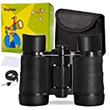 Rayhee Rubber 4x30mm Toy Binoculars for Kids - Bird Watching - Educational Learning - Hunting - Hiking - Birthday Presents - Gifts for Children - Outdoor Play (Black)
