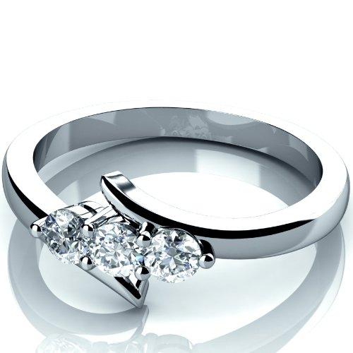 Nueva marca 0,30 quilates anillo de compromiso de diamante redondo trilogía hecha a mano en 9 K oro blanco