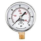 Winters PEM Series Steel Dual Scale Economical All Purpose Pressure Gauge with Brass Internals, 0-60 psi/kpa, 2-1/2' Dial Display, +/-3-2-3% Accuracy, 1/4' NPT Bottom Mount