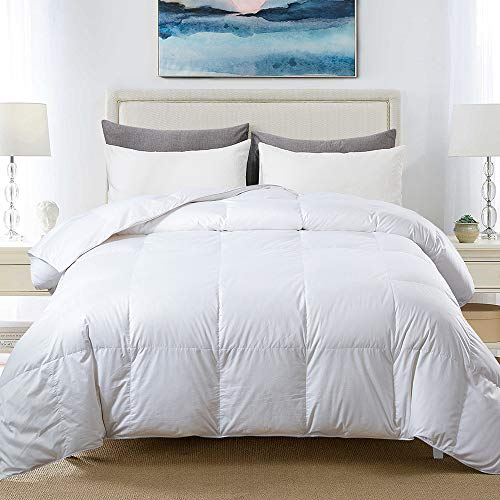 COSYBAY 100% Cotton Quilted Down Comforter White Goose Duck Down and Feather Filling – All Season Duvet Insert or Stand-Alone – Queen Size(90×90 Inch)