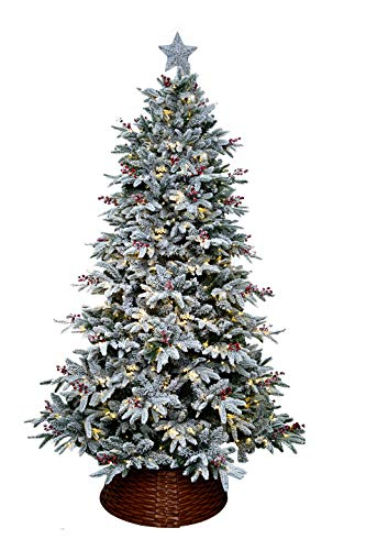ABUSA Prelit Frosted Christmas Tree 9ft Pre-lit Electric Tube 900LED Lights Flocked Snowy Everest Pine with Tree Top Star Tree Collar Gifted Berries and Pine Cones(New)