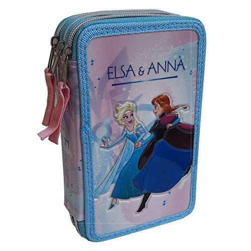 CARTOON GROUP Astuccio Scuola 3D Frozen Disney Elsa Anna MULTISCOMPARTO 3 Zip PASTELLI Fila...