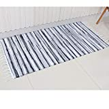 Chindi Rug Reversible Rag Cotton Hand Woven Throw Area Rugs for Kitchen Bedroom Bathroom Livingroom Washable Stripe Grey