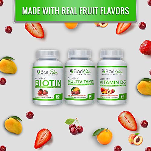 BariSlim Bariatric Multivitamin 3 Pack – (Multivitamin, Biotin, and D3) - Specially Formulated Gummy Vitamins for Patients After Weight Loss Surgery – 90 Fruit Chews per Bottle 3