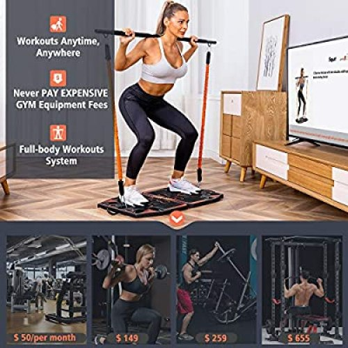 Gonex Portable Home Gym Workout Equipment with 10 Exercise Accessories