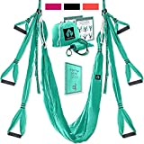 Yoga4You Aerial Yoga Swing Set - Yoga Hammock Swing - Trapeze Yoga Kit - 2 Extension Straps - Wide Flying Yoga Inversion Tool - Antigravity Ceiling Hanging Yoga Sling - Adult Kids Arial Toga (Green)