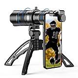 Apexel - Obiettivo zoom HD 20-40X con treppiede, teleobiettivo, telescopio per iPhone Samsung, altri smartphone, caccia, campeggio, sport