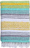 El Paso Designs Mexican Blanket Pastel Bloom Collection Yoga Classic Mexican Falsa Pattern Woven Throw 51in x 74in (Yellow Mint and Gray)