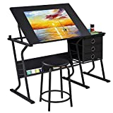 YAHEETECH Adjustable Drafting Table Drawing/Draft/Art/Craft Table/Desk with Stool and Storage...