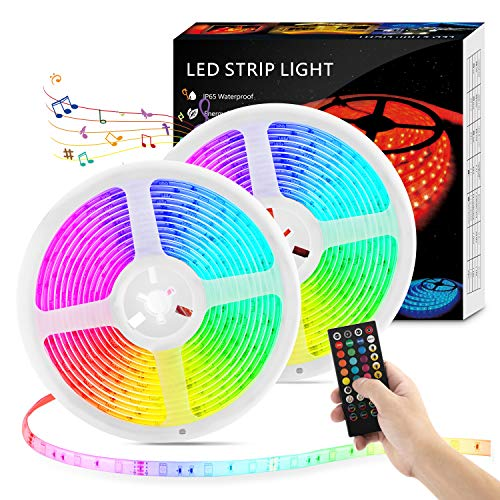 LED Strip Lights with Remote - 32.8ft LED Music Sync Tape Lights...