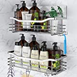 Orimade Adhesive Shower Caddy Basket Shelf with 5 Hooks Organizer Storage Rack Rustproof Wall Mounted Stainless Steel No Drilling for Bathroom, Toilet, Kitchen - 2 Pack