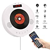 YOOHOO Portable Bluetooth DVD/CD Player,1080p Wall-Mounted HDTV Speaker with Remote Control/FM Radio/Timer/USB/AV Output/LCD Display (White)