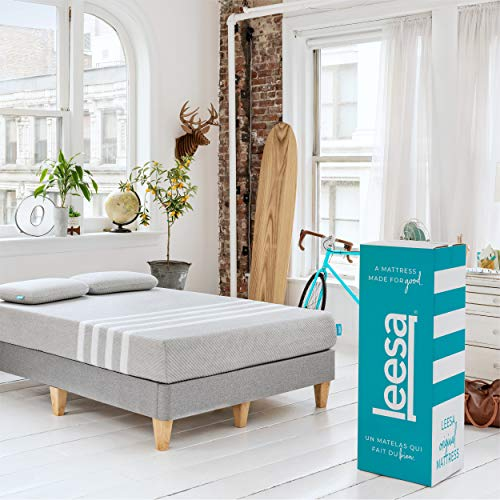 Leesa Box Mattress, Queen, Gray & White