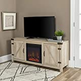 WE Furniture Farmhouse Barn Door Wood Fireplace Stand for TV's up to 64' Living Room Storage, 58 Inch, White Oak