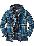 Legendary Whitetails Men's Maplewood Hooded Shirt Jacket (Medium, Slate Hatchet Blue Plaid)