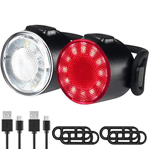 Luci Biciclette, Luci per Biciclette a LED Impermeabili, 6 Modalit di Luminosit Fanale Posteriore Anteriore, USB Ricaricabile Sicurezza Stradale per Luci Notturne di Avvertimento Set