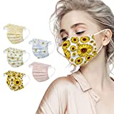 50Pcs Disposable Floral Face_Masks for Women, 3-Ply Colorful Breathable Flower Face_Masks with Nose Wire, 3D Design Protective Facemasks for Adults Holiday Party
