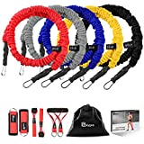 Polygon Resistance Bands Set, Upgraded Resistance Tubes with Anti-Snap Heavy Duty Protective Nylon Sleeves, 11 Pieces Include 5 Stackable Exercise Bands, Door Anchors, Legs Ankle Straps, Foam Handles